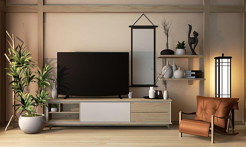 三维图形,木制,日本,时尚,极简构图,柜子,日本式旅店,住宅房间,设计,装饰
