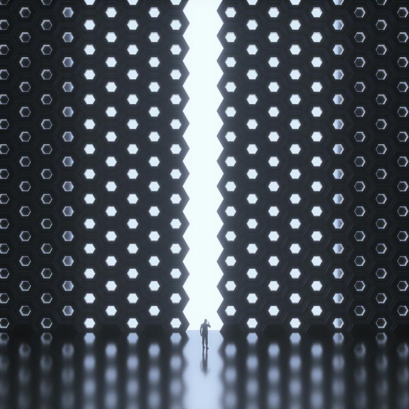 未来,男商人,城市,付费电话,不确定,形状,巨大的,几何形状,大门,仅男人