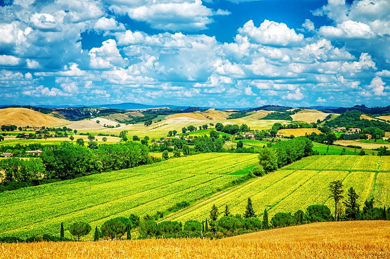 地形,非凡的,天空,水平画幅,山,早晨,夏天,户外,草,云景
