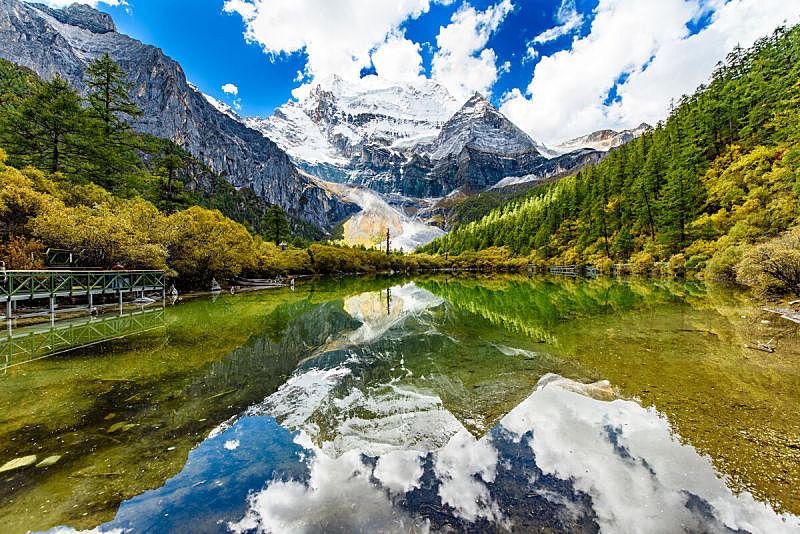 山,珀尔湖,四川省,自然,水平画幅,地形,雪,无人,户外,湖