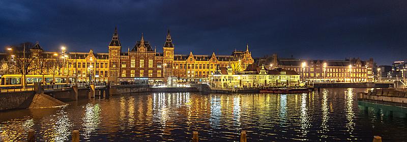 夜晚,阿姆斯特丹,城市生活,曙暮光,黄昏,船,著名景点,河流,运河,户外