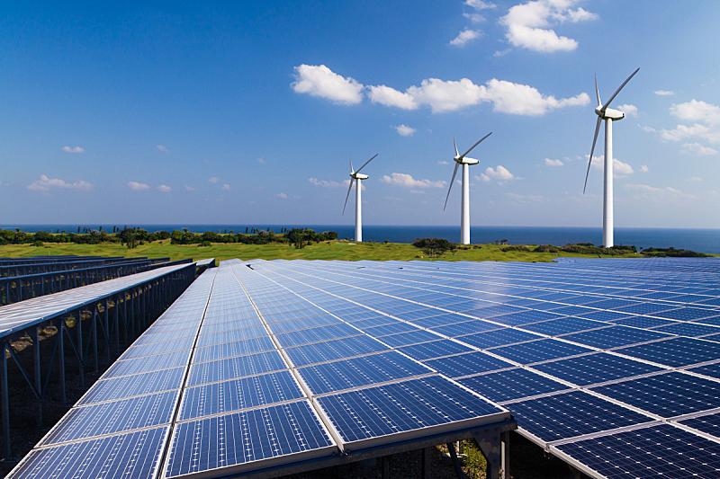 替代能源,图像,天空,太阳能电池板,水平画幅,风力,能源,无人,户外,经济