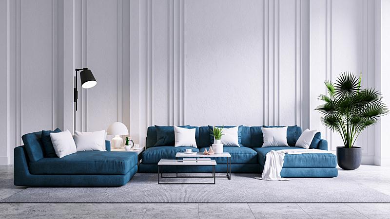 沙发,现代,三维图形,起居室,混凝土,蓝色,室内地面,白色,墙,复古