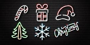 霓虹灯,新年前夕,矢量,分离着色,背景,圣诞节,概念,装饰,布置,写实