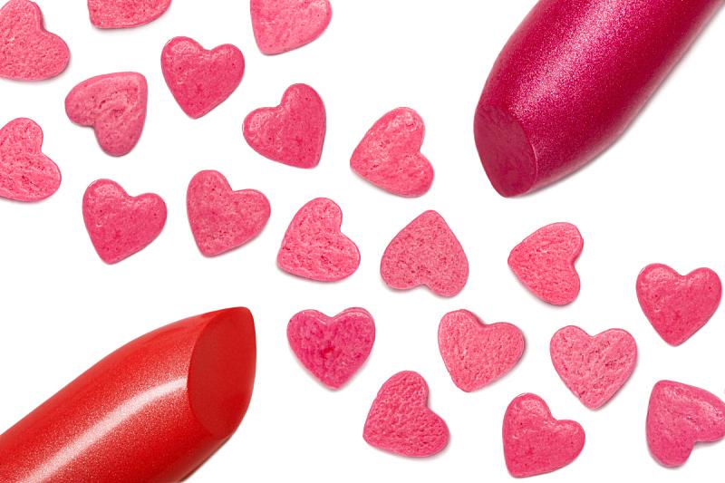 唇膏,特写,动物心脏,红色,粒子,调色板,水平画幅,无人,粉色,化妆用品