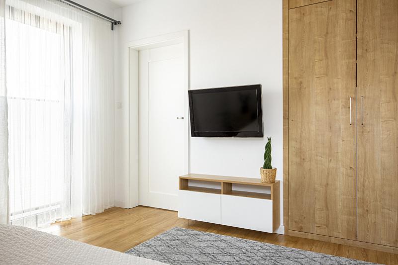 白色,衣柜,木制,门,室内,墙,几乎,宾馆客房,摄影,写实
