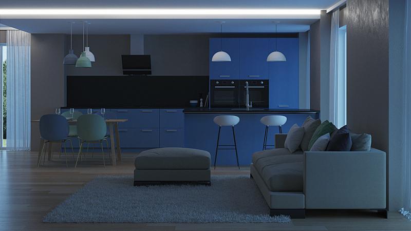 现代,三维图形,蓝色,房屋,室内,厨房,夜晚,水平画幅,无人,椅子