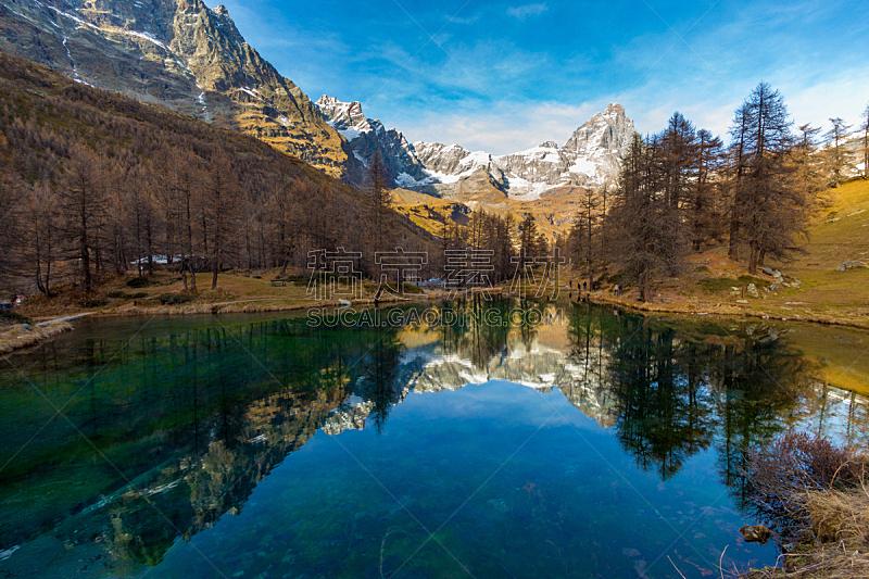 蓝湖,水平画幅,秋天,山,阿尔卑斯山脉,无人,2015年,风景,户外,湖
