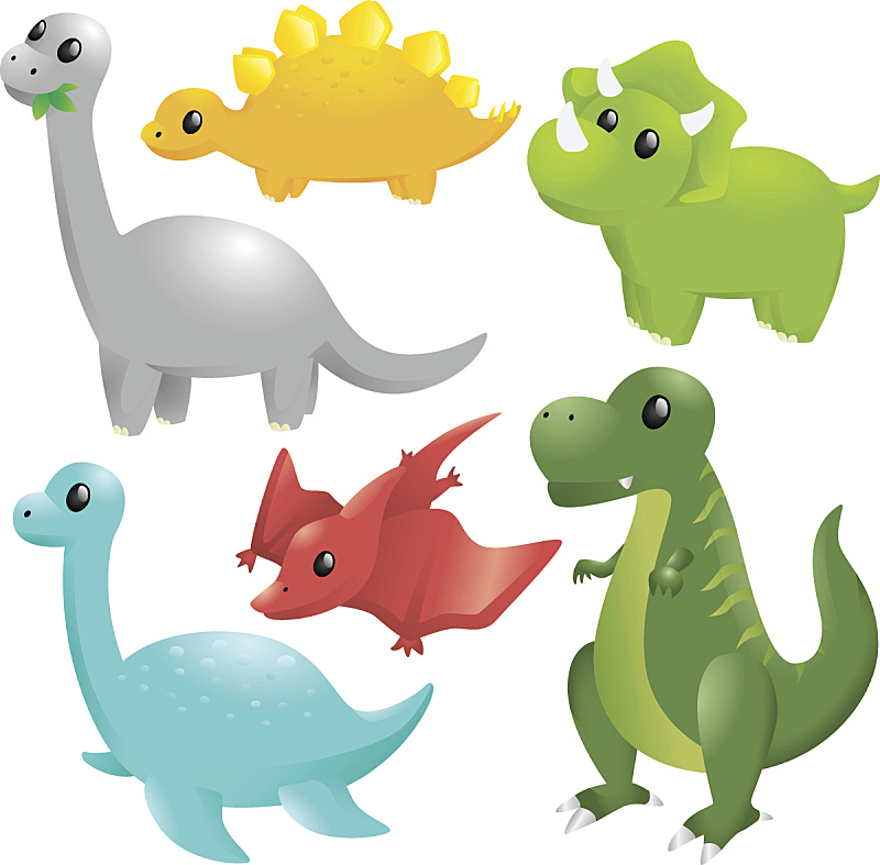 恐龙,远古的,动物主题,白色背景,背景分离,图标集,图像,已灭绝生物,史前时代,巨大的