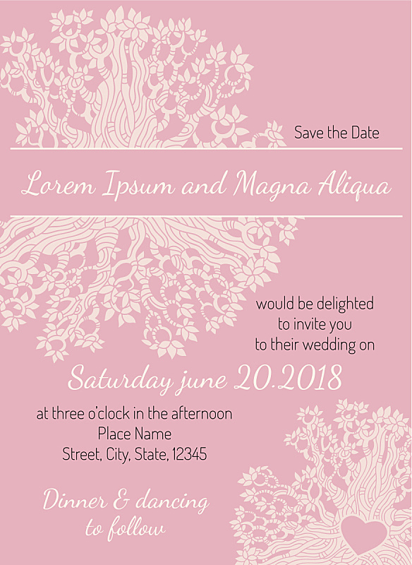 请柬,婚礼,模板,矢量,贺卡,心型,粉色,花纹,华丽的,周年纪念
