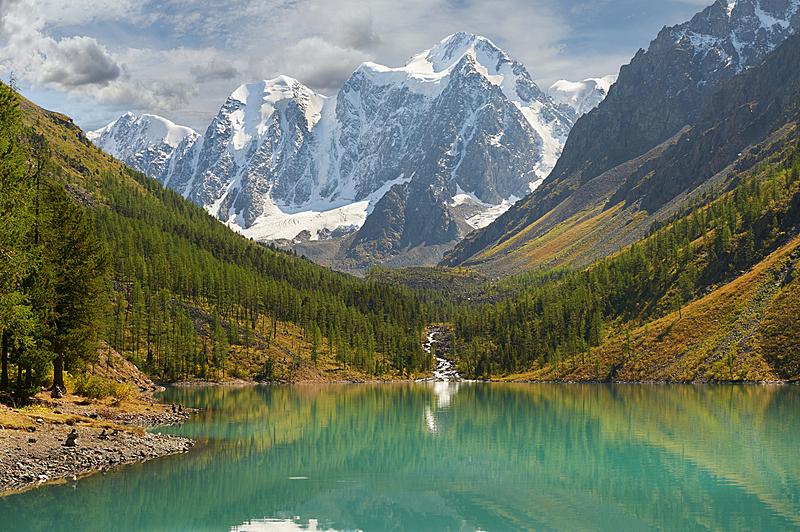 阿尔泰山脉,水,天空,洛矶山脉,雪,早晨,夏天,湖,彩色图片,松科