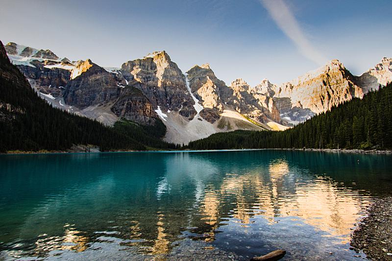 梦莲湖,国内著名景点,环境,雪,加拿大,河流,岩石,夏天,户外,天空