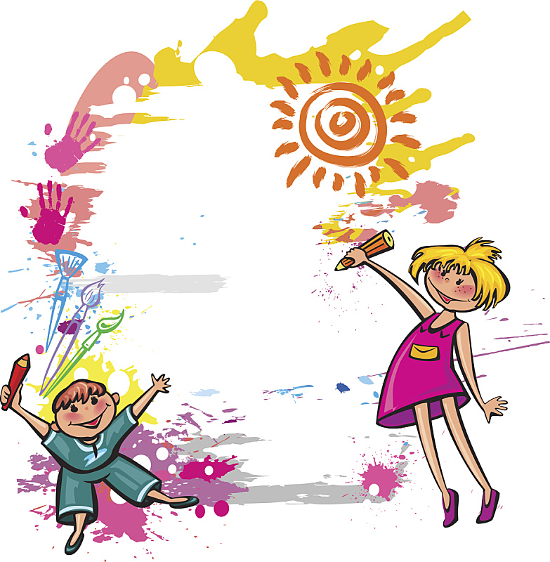 儿童,色彩鲜艳,青少年,学龄前,边框,绘画插图,画笔,知识,友谊