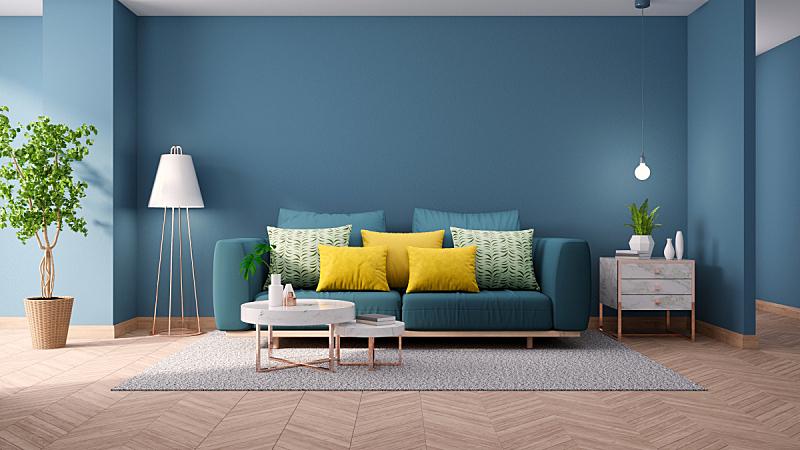 沙发,装饰物,极简构图,概念,桌子,蓝色,硬木,绿色,大理石,起居室