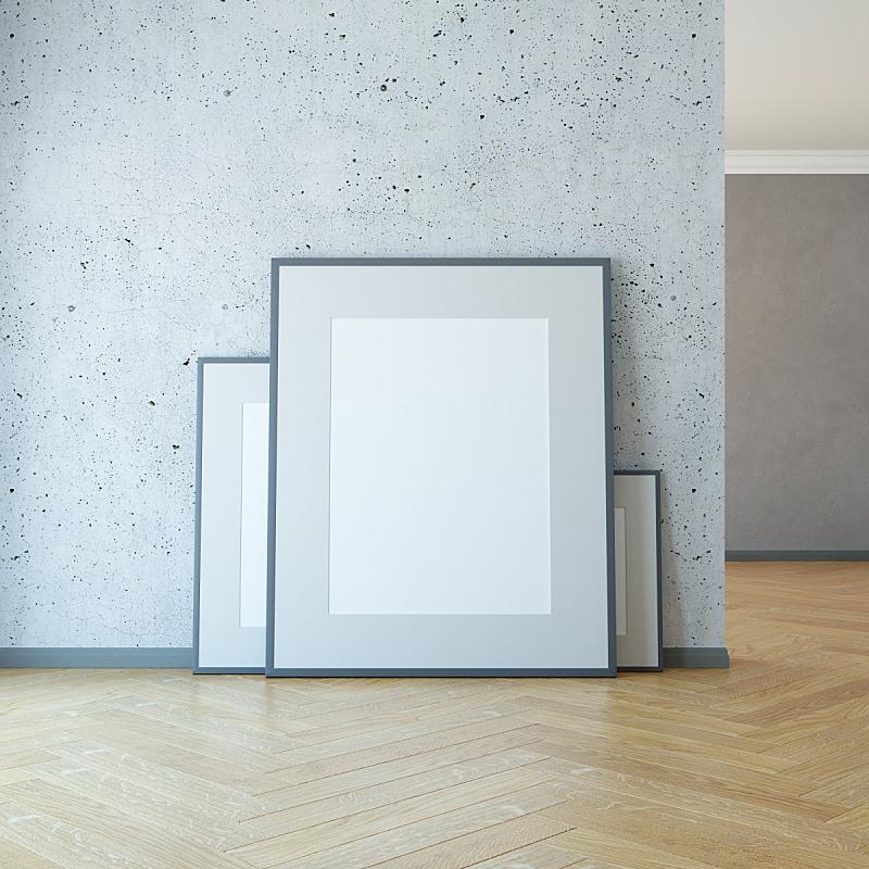 三维图形,空白的,绘画艺术品,空的,边框,地板,现代,门厅,走廊,绘画插图