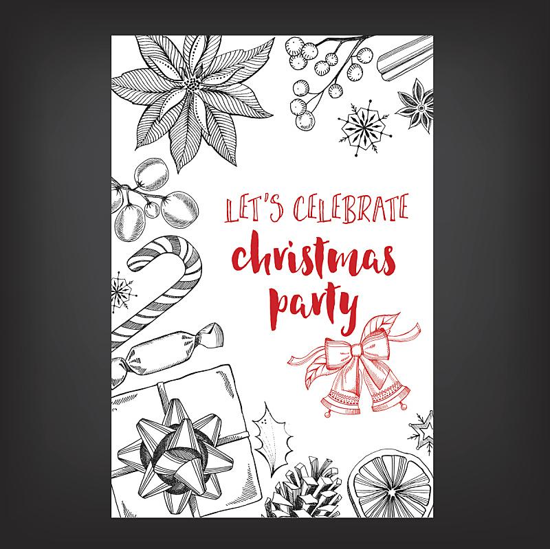 请柬,饮料,菜单,贺卡,传单,灵感,新年前夕,食品,复古风格