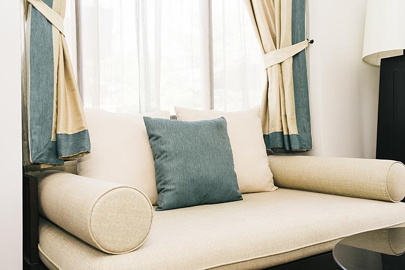 舒服,沙发,枕头,公寓,窗帘,房屋,华贵,软垫,泰国,图像