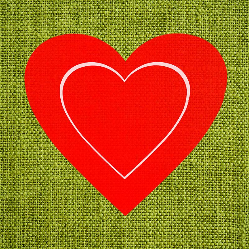 纺织品,情人节卡,绿色,红色,心型,背景,美,留白,无人,绘画插图