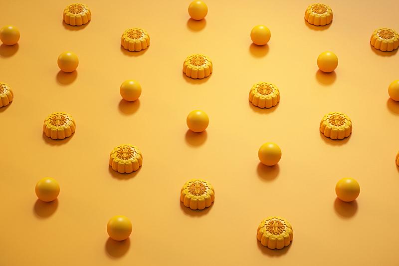 月饼,三维图形,传统节日,亚洲,晚会,黄色背景,中秋节,水平画幅,无人,月亮