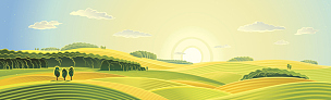 夏天,地形,天空,山,绘画插图,早晨,纯净,乡村风格,草,明亮