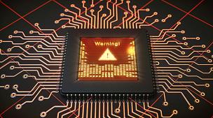 警告标志,电脑芯片,显示器,中央处理器,计算机病毒,警告标识,危险,警铃,电脑晶片,安防系统
