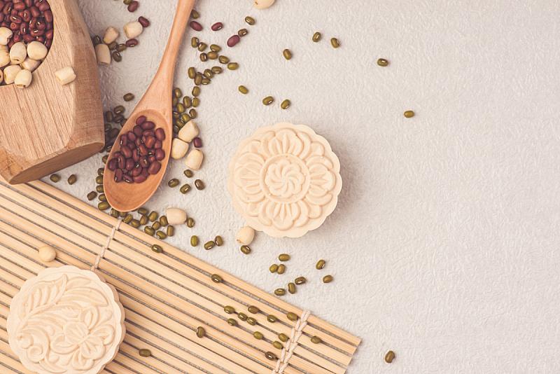传统节日,秋天,果皮,中间,月饼,留白,褐色,水平画幅,蛋糕,烘焙糕点