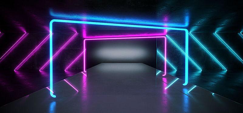 三维图形,蓝色,黑色,未来,背景,无人,现代,激光,霓虹灯,发光
