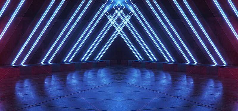 三维图形,未来,混凝土,荧光灯,霓虹灯,激光,蓝色,黑色,反射,照亮