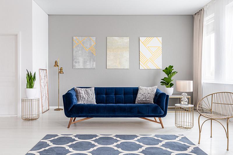 灰色,沙发,起居室,金属,高雅,黄金,室内,三个物体,墙,蓝色