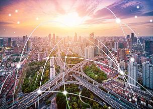 计算机网络,技术,智慧城市,交通,全球通讯,大数据,多车道公路,公路,地球形,计算机制图