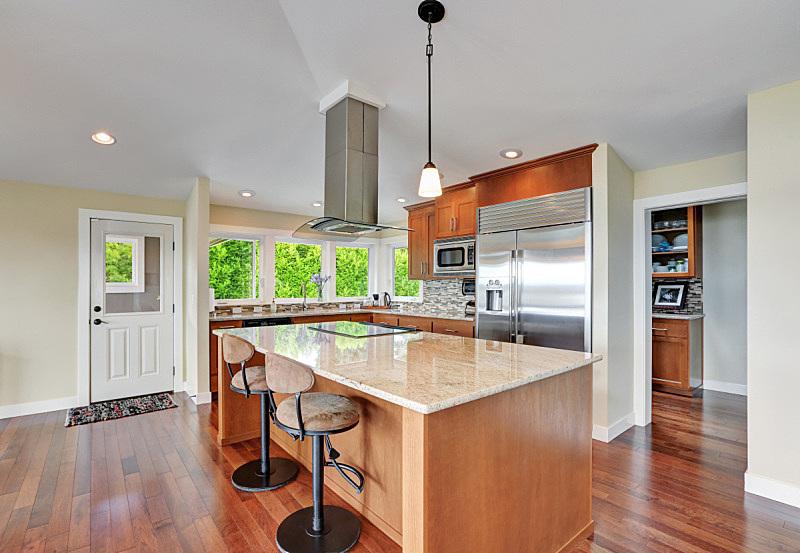 室内,厨房,极简构图,房屋,华贵,灶台,冰箱,窗户,住宅房间,水平画幅