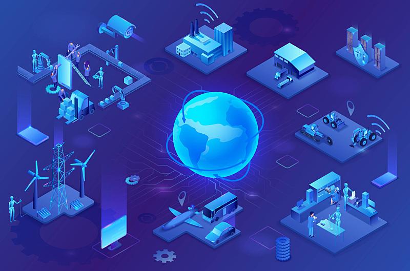 电力线,三维图形,制造机器,概念,工业,工厂,智慧,物联网,绘画插图,霓虹灯