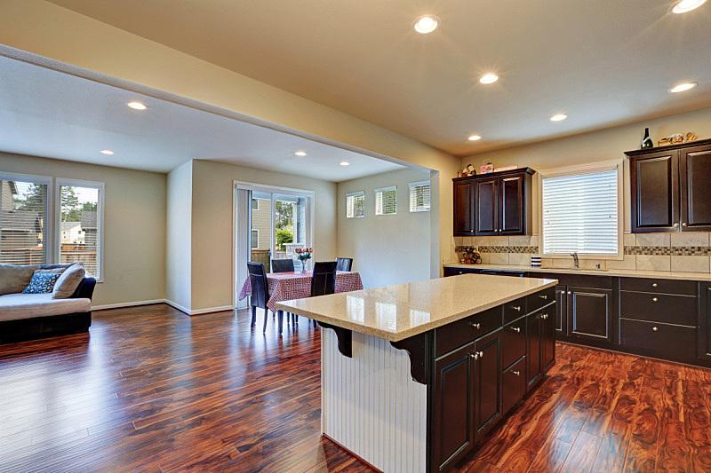 室内,厨房,饭厅,暗色,硬木地板,窗户,住宅房间,水平画幅,吧椅,建筑
