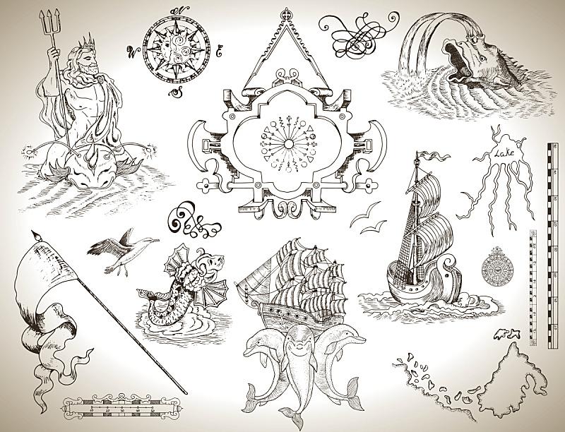 过时的,符号,海洋,军用船,秘密,华丽的,边框,复古风格,古董