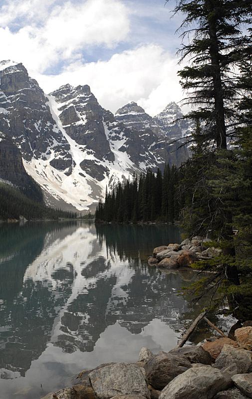 梦莲湖,垂直画幅,班夫,阿尔伯塔省,无人,户外,湖,摄影,反射