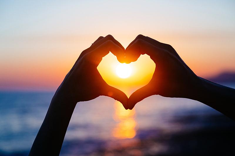 心型,手,创造力,水,天空,夏天,海滩,彩色图片,光,蜜月