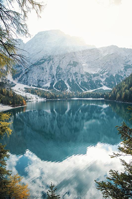 湖,阿尔卑斯山脉,山,非凡的,苏打,倒影湖,户外,多洛米蒂山脉,意大利,特伦蒂诺