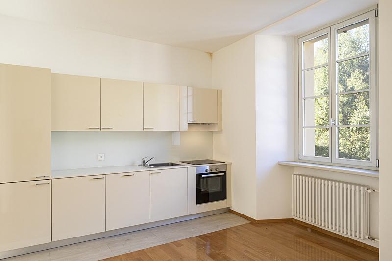 空的,镶花地板,住宅房间,窗户,史密森学会,从上面看过去,冰箱,地板,炊具,备餐间