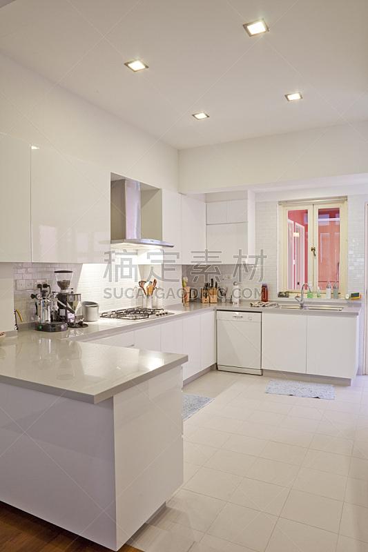 白色,极简构图,厨房,彩色图片,高雅,垂直画幅,室内,住宅房间,无人,炊具