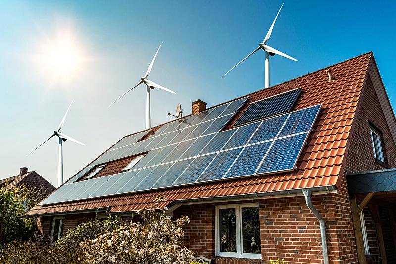 太阳能电池板,屋顶,风,天空,新的,水平画幅,能源,无人,干净,居住区