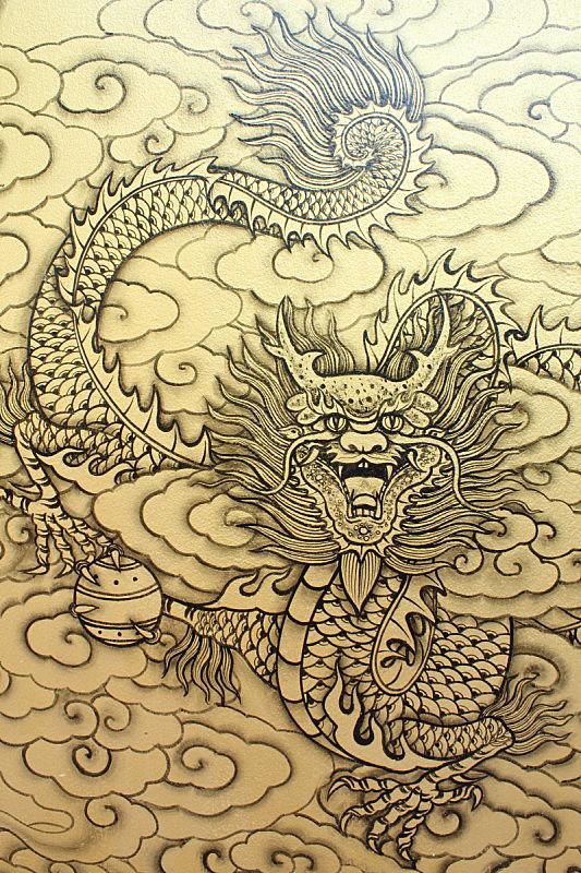 绘画作品,垂直画幅,传统,龙,东方人,亚洲人,摄影