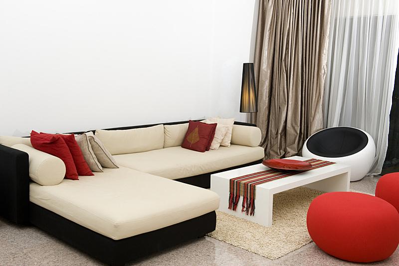 现代,起居室,住宅房间,新的,桌子,水平画幅,吧椅,无人,色彩鲜艳,小毯子