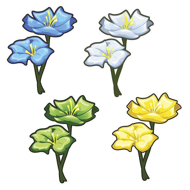 黄色,绿色,蓝色,四个物体,明亮,轻的,华丽的,装饰物,春天,植物