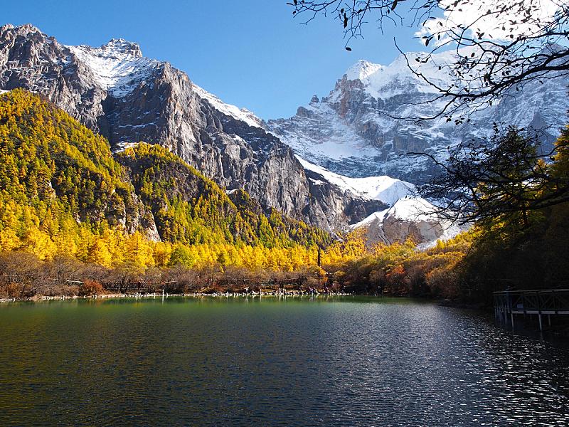 稻城亚丁,湖,自然保护区,珀尔湖,自然,美,水平画幅,秋天,人,户外