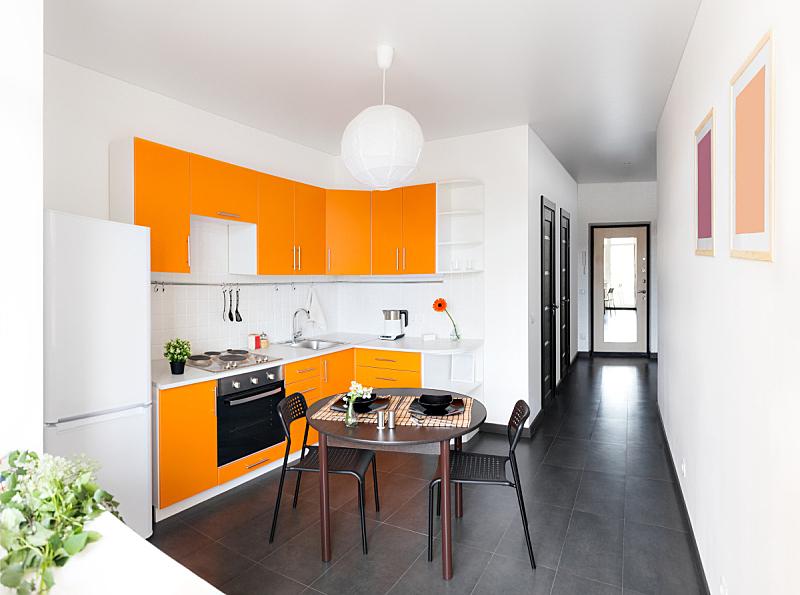 橙色,极简构图,厨房,新的,水平画幅,无人,椅子,家庭生活,家具,干净