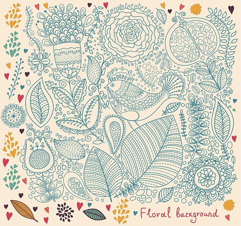 背景,鸟类,自然,式样,无人,绘画插图,古典式,装饰物,花纹,叶子