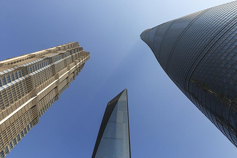 金茂大厦,上海环球金融中心,上海中心大厦,低视角,昆明,成都,东方明珠塔,深圳,陆家嘴,天空