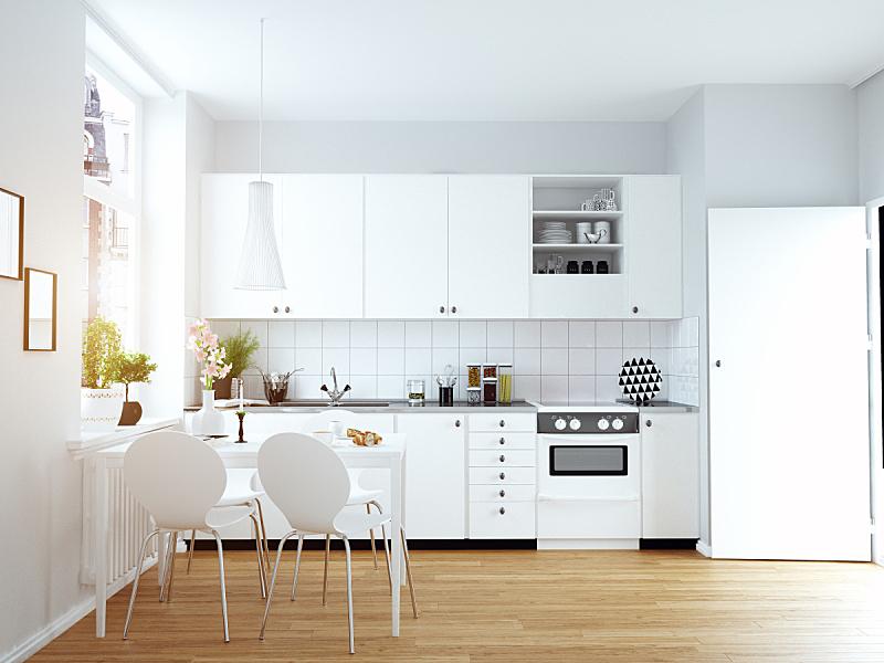 现代,厨房,室内,舒服,斯堪的纳维亚半岛,窗帘,地板,色彩鲜艳,小的,装饰物