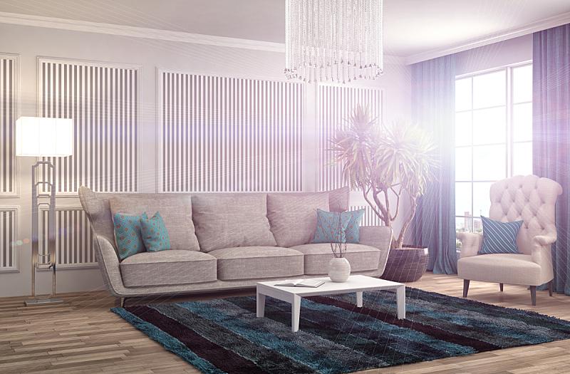 沙发,室内,绘画插图,三维图形,座位,水平画幅,无人,蓝色,装饰物,家具