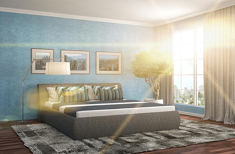 卧室,室内,三维图形,绘画插图,床头板,新的,水平画幅,无人,家具,干净